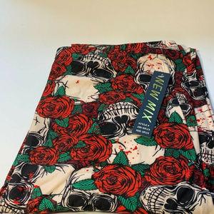 New Mix Womens Skull Roses Stretch Leggings Sz 1X